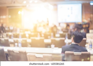 Blur health technology training event in business conference convention concept for lifestyle sale meeting,  blurry seminar room, congress tele meeting phone call