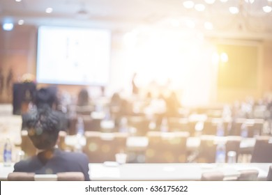 Blur health technology training event and business conference in convention hall concept for lifestyle sale meeting,  blurry seminar room, congress tele meeting phone call