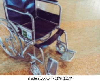 Blur hospital Background with patient on bed, wheelchair in hallway. Quality of public private healthcare service for illness, coma, chemotherapy, cancer old senior sick from professional nurse doctor