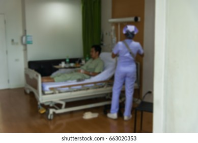 Blur hospital room interior for background. Blurred image of Patient in hospital for background.