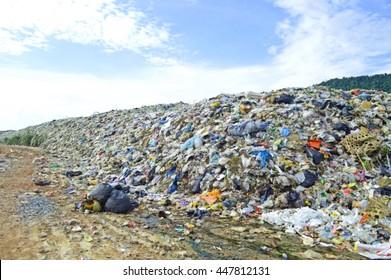 blur huge mountain of trash