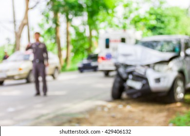 Blur image of accident on the road , use for background.