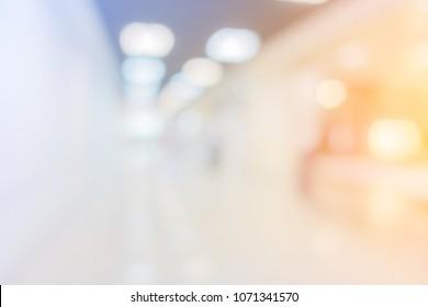 blur image background of corridor office hospital walkway