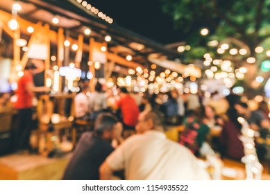 Blur image for background Happy of crowd in pubs Thailand light bokhe background. ,background concept,