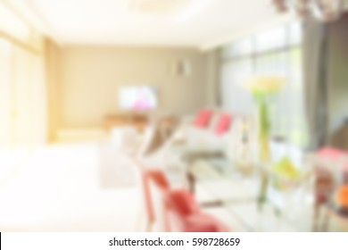 Blur image background living room with dining table