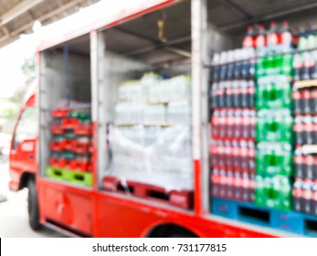 Blur image of beverage truck, use for background.