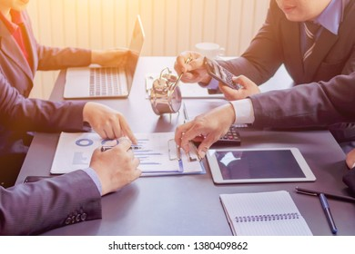 Blur image of a businessman in a meeting room.Group of business people who are attending the meeting to summarize their business performance to calculate annual income and profit.