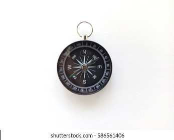 blur image of classic compass isolated on white background. Copy Space, flat lay, selective focus, blur image