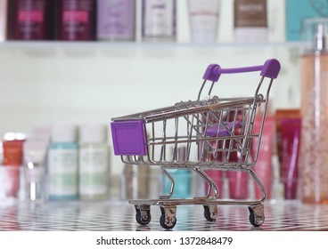 Blur Image Cosmetics Counter With Various Beauty Products