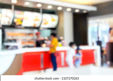Blur image of fast food restaurant, use for background.