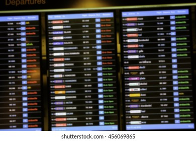 Blur image of flight information departure, arrival at the airport for background usage or create montage.