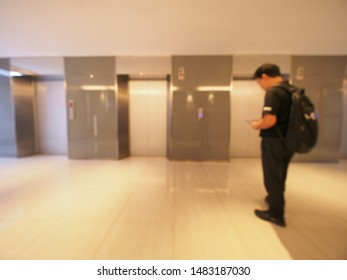 Blur image in front of elevator background usage.