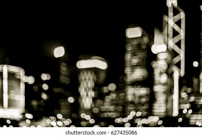 Blur image of Hong Kong city with circle bokeh in vintage style