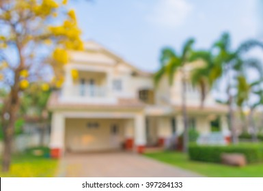 blur image of house in the village for background usage .
