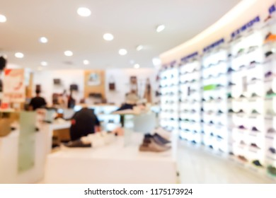 Blur image of inside the bag and shoes store.