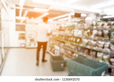 Blur image of inside convenience store, use for background.