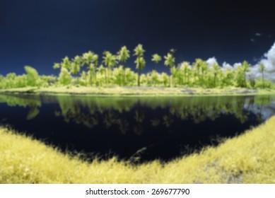 Blur Image Of The Lakeside Viewed In Infrared at Tuaran, Sabah, Malaysia, Borneo.