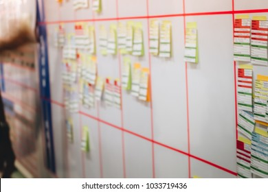 a blur image of many note , post it, stick on the planning white board for brainstorming in the meeting room in the work office to follow the progress of the work