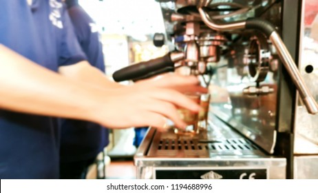 Blur image of men are making coffee.
