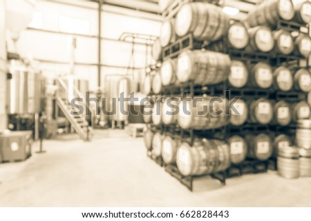 Blur Image Modern Beer Plant (brewery), Stainless Steel Brewing Equipments  And Stack Of