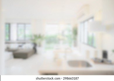 blur image of modern dining room interior.