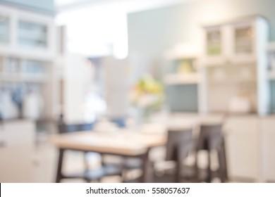Blur image of modern Kitchen Room interior. Kitchen Room.