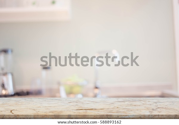 Blur image of modern Kitchen Room interior. Kitchen Room.