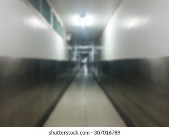 Blur image of narrow corridors and scary at the hospital.