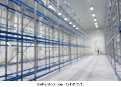 Blur image of New cold room storage for background. Refrigeration and freezing warehouse