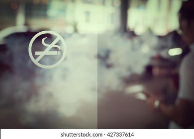 Blur image of no smoking area. vintage or retro style, copy space.