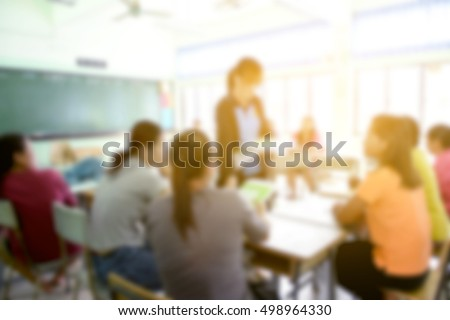 blur image of parent meeting in elementary school