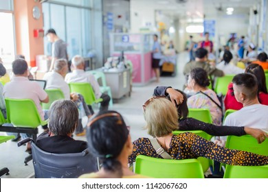 Blur image of patients in the hospital waiting to see doctor and treatment.