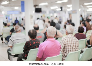 Blur image of patients waiting for treatment in hospital.