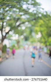 blur image of people exercise in public park