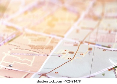 blur image of perspective road map paper