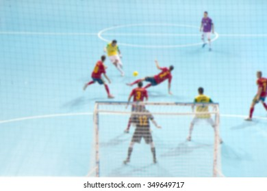 Blur image of player movement in futsal competition