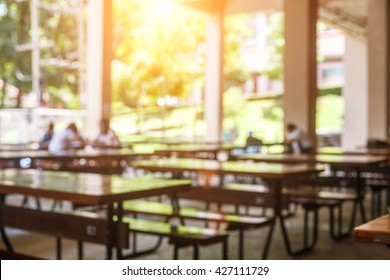 blur image of restaurant or cafeteria delicious clean food. A place for students to eat food.