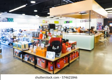 blur image of shelves in an auto parts store