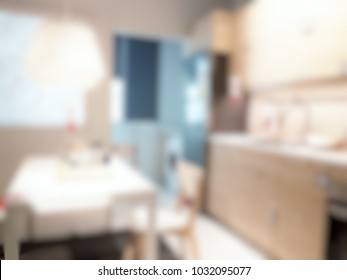Blur image of small kitchen with simple and neat decoration