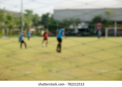 Blur image of a soccer game in Thailand