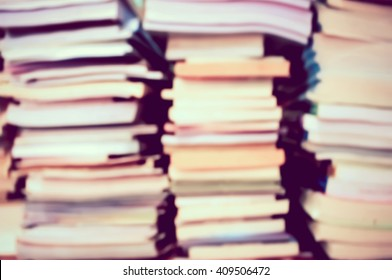 blur image of stacking book