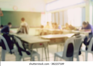 blur image of student in classroom