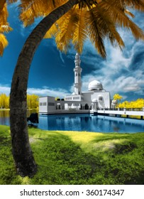 Blur Image Of Tengku Tengah Zaharah, Terengganu by the lakeside viewed in infrared.(soft focus effect , blur effect , high iso ,nature composition )