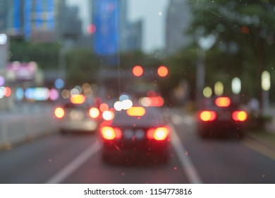 blur image of traffic jam before night, abstract concept of traffic jam