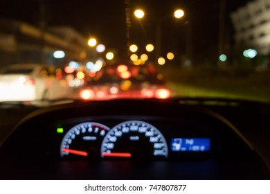 Blur image of Traffic jams in the night.