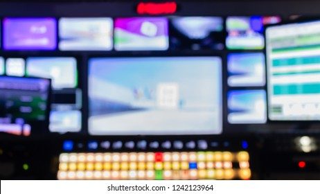 Blur images of multiple Television Broadcast, Panel Control Digital TV.