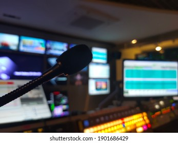 Blur images of multiple Television Broadcast, Monitor Background