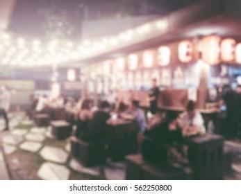 Blur Japanese restaurant for background