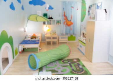 blur kid bed room picture background  of furniture mall