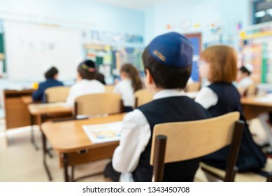 Blur kids in the classroom for background usage, Jewish School, Israeli Kids, Israel